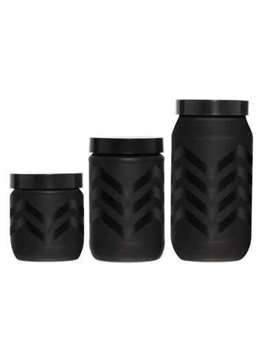 Herevin Üç Boy Siyah Zigzag Desen Cam Kavanoz Seti Siyah